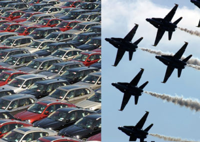Product Line Engineering Meets Model Based Engineering in the Defense and Automotive Industries [Raytheon, General Motors, General Dynamics]